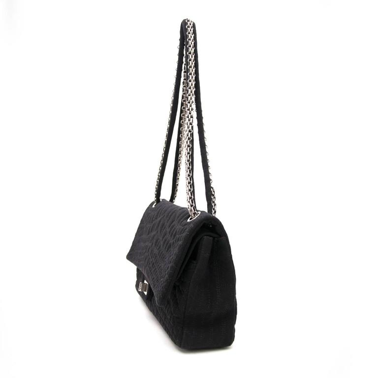 Chanel Large 2.55 Black Fabric Bag For Sale 1