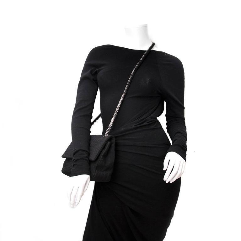 Chanel Large 2.55 Black Fabric Bag 6