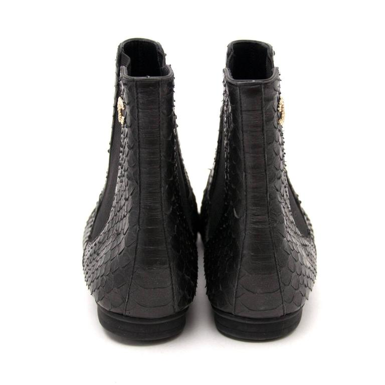 Chanel Python Black Ankle Boots 3