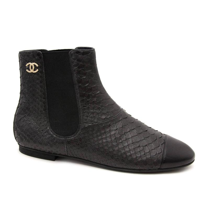 Chanel Python Black Ankle Boots 4