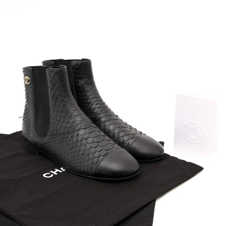 Chanel Python Black Ankle Boots 2