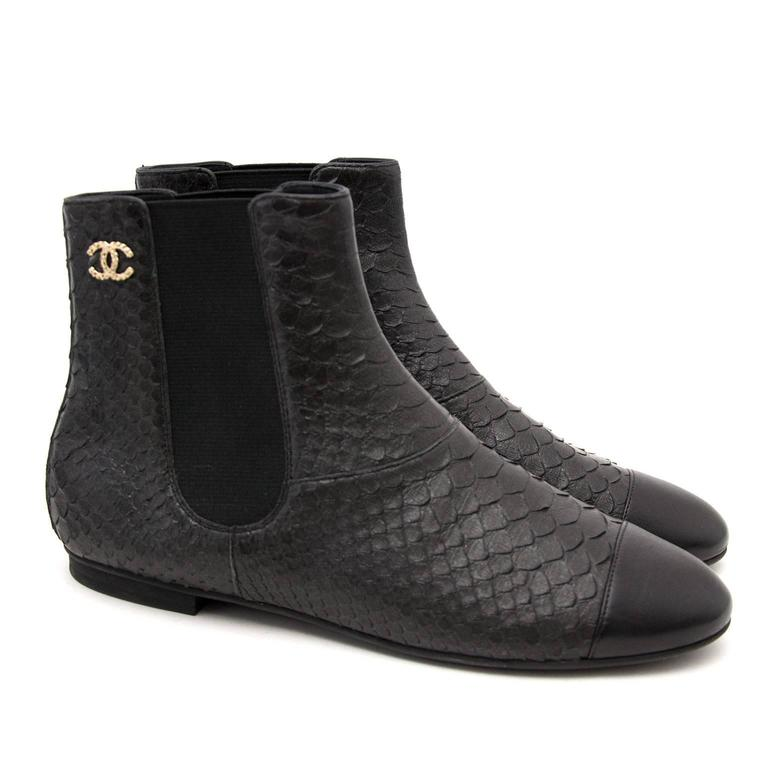 Chanel Python Black Ankle Boots 6