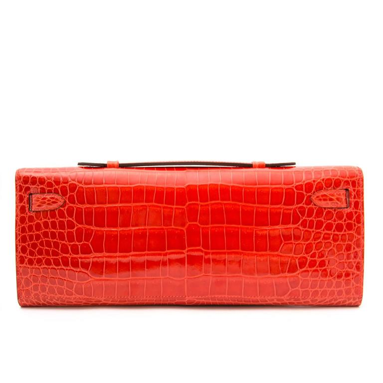 Hermès Brand New Kelly Cut Pochette Crocodile Porosus Lisse Orange  2