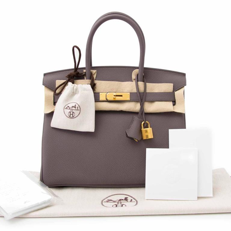 7c00350b03 Hermès Birkin 30 Togo Etain GHW In New Condition For Sale In Antwerp