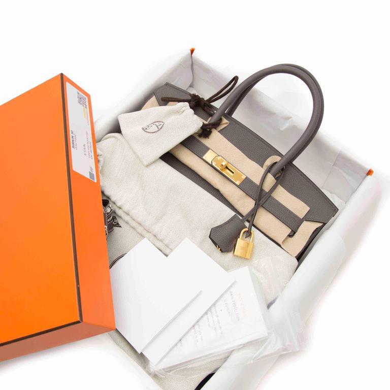 1e924c69c5b Hermès Birkin 30 Togo Etain GHW For Sale. This brand new Birkin Bag in a  timeless warm brown grey color  Etaine