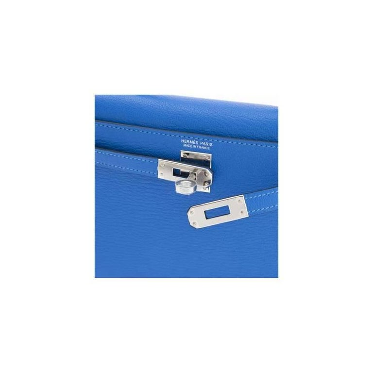 Blue Hermès Kelly 20 Sellier Mini Chèvre Mysore Bleu Hydre For Sale