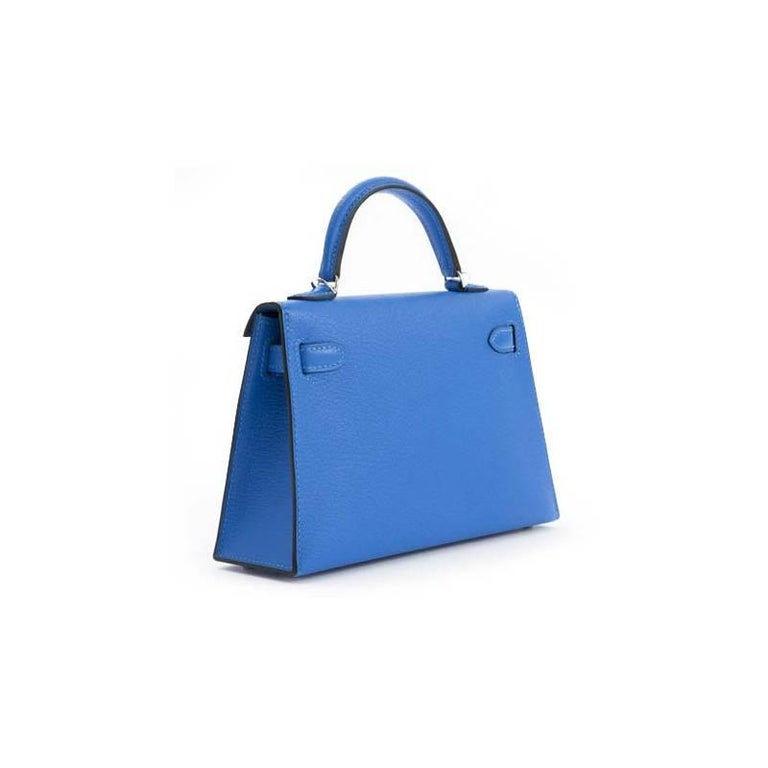 Hermès Kelly 20 Sellier Mini Chèvre Mysore Bleu Hydre In New Condition For Sale In Antwerp, BE