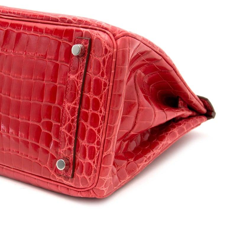Hermès Birkin 30 Crocodile Niloticus Matte Geranium For Sale 5