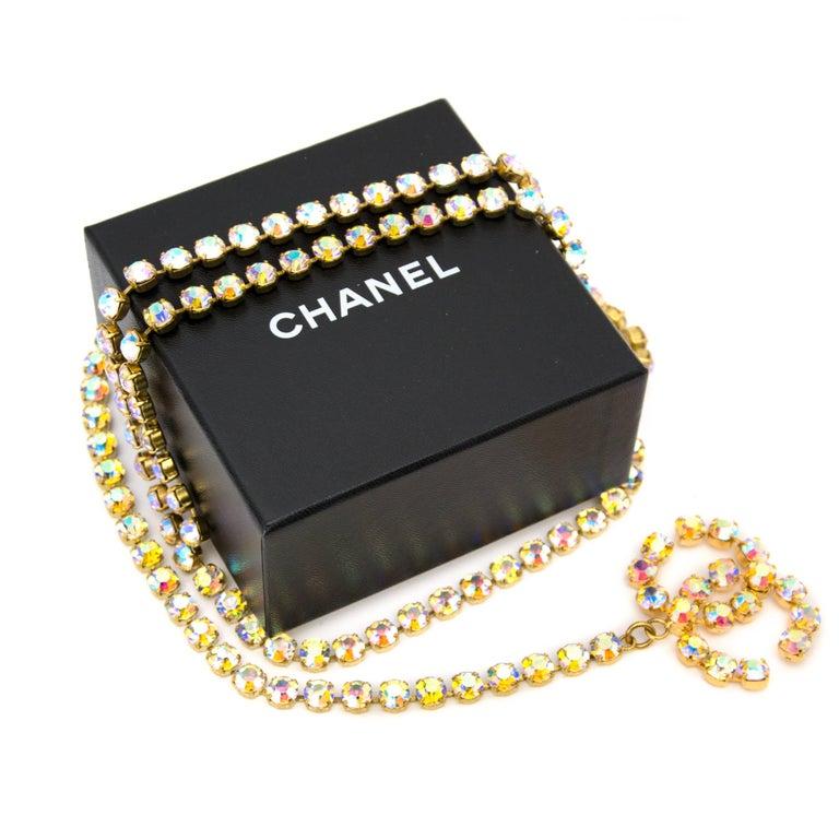 Beige Chanel Vintage Aurora Stone Chain Belt For Sale