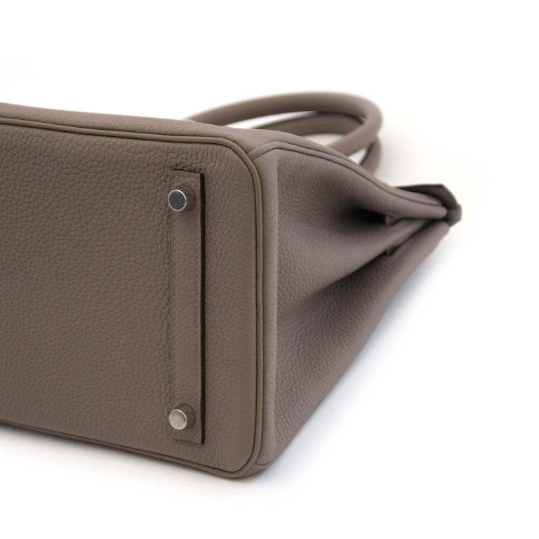 Women's or Men's Hermès Togo Gris Asphalte Palladium Hardware Birkin 30 Bag For Sale