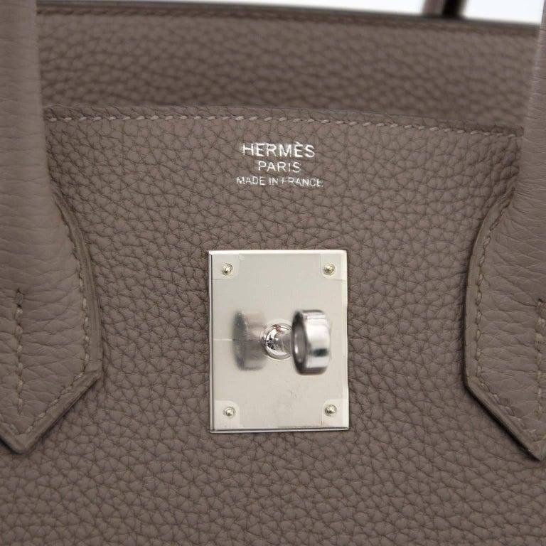 Hermès Togo Gris Asphalte Palladium Hardware Birkin 30 Bag For Sale 2