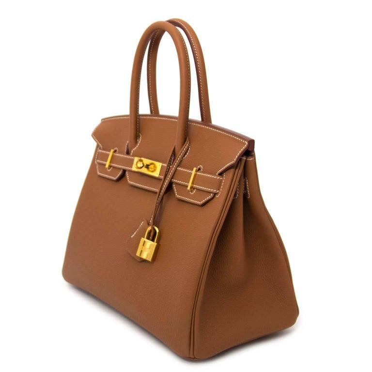 2437b177f0 Brown Hermès 30 Togo Gold Gold Hardware Birkin Bag For Sale