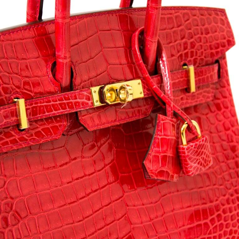 f16b396b254 ... very rare Hermès Crocodile. Red Hermès Crocodile Porosus Bougainvillier  ghw Birkin 25 Bag For Sale