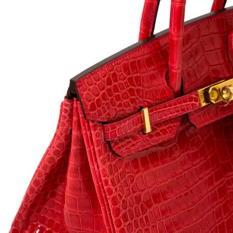 d92b87f2db6 Hermès Crocodile Porosus Bougainvillier ghw Birkin 25 Bag For Sale ...