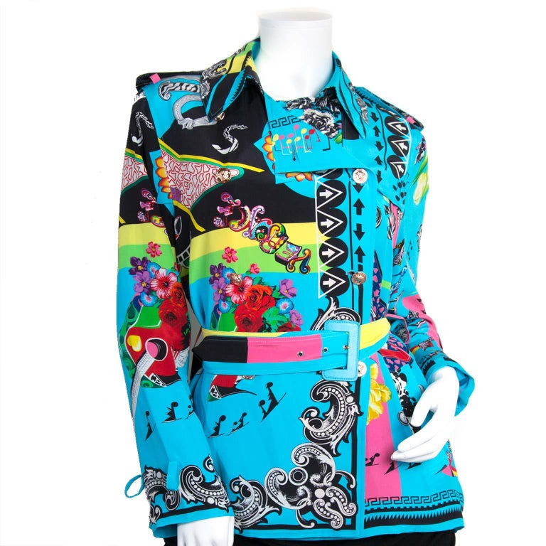 Versace Multicolor Marlene Printed Blouse -Size 40 In Excellent Condition For Sale In Antwerp, BE