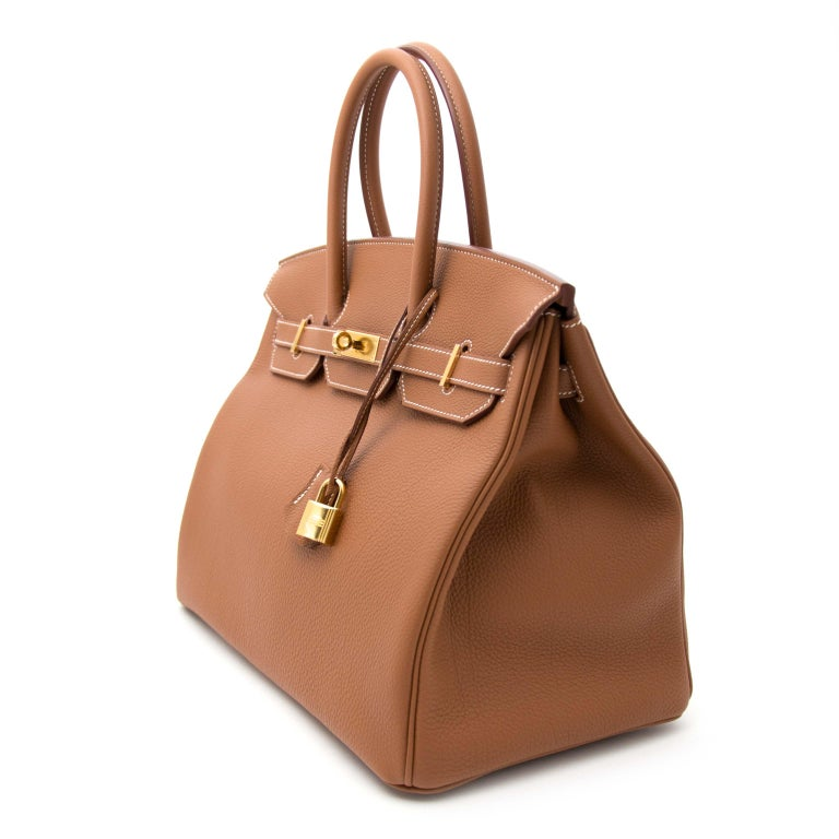Brown Hermès Birkin 35 Togo Gold PHW