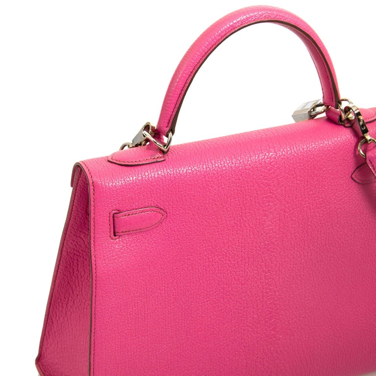Women's or Men's Hermès Kelly 32 Chèvre de Coromandel Sellier Fuchsia PHW