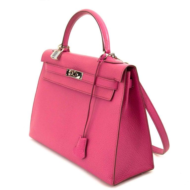 Pink Hermès Kelly 32 Chèvre de Coromandel Sellier Fuchsia PHW