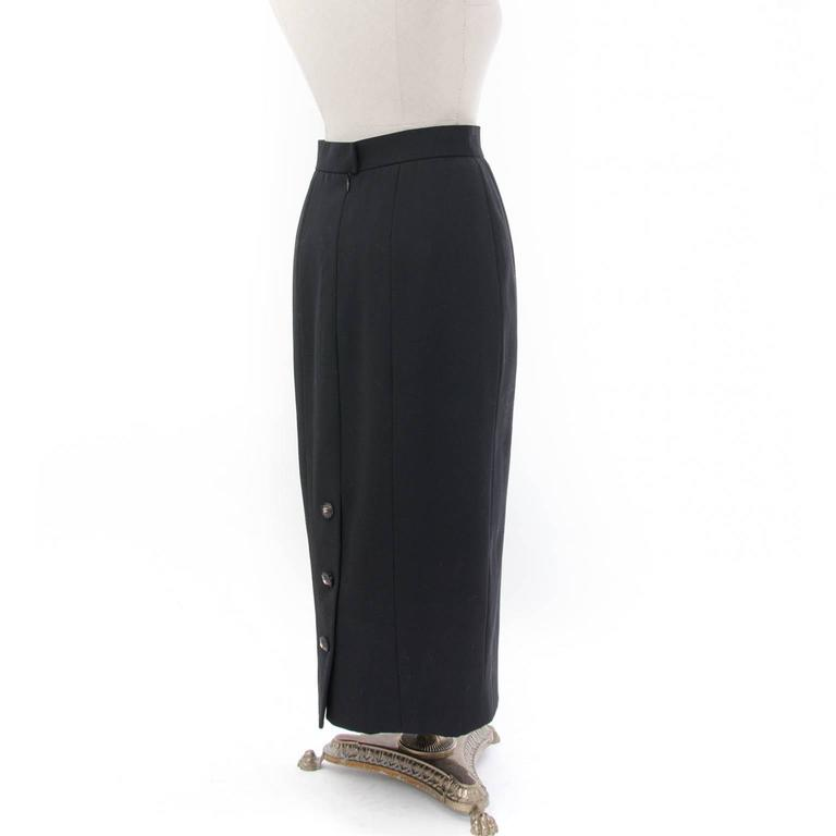 chanel black wool maxi pencil skirt and blazer suit at 1stdibs