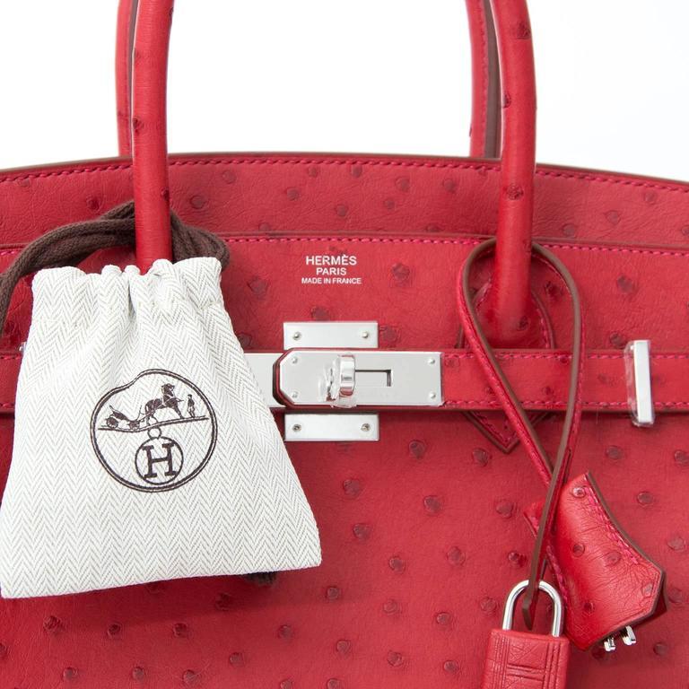 BRAND*NEW*Hermes Ostrich Birkin 30 Rouge Vif 2