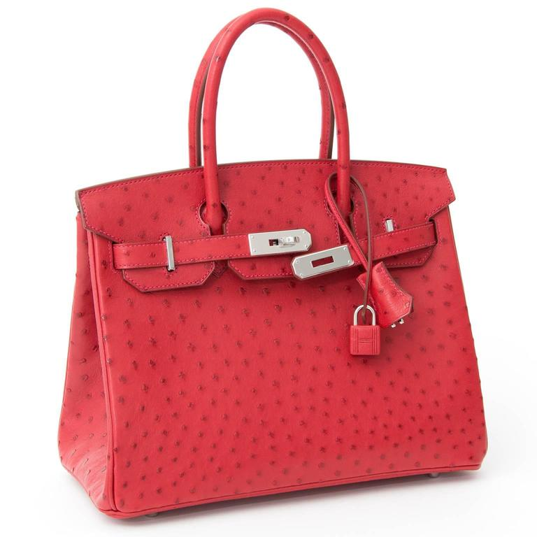 Red BRAND*NEW*Hermes Ostrich Birkin 30 Rouge Vif