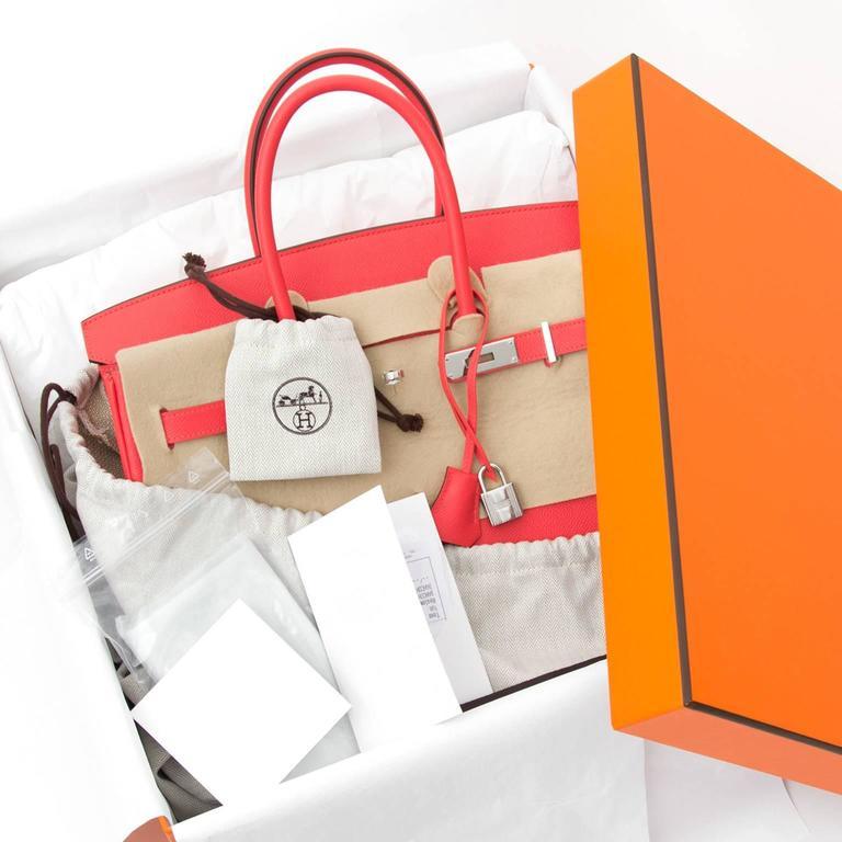 BRAND NEW Hermès Birkin Bag 35 Epsom Rose Jaipur PHW  In New Condition For Sale In Antwerp, BE
