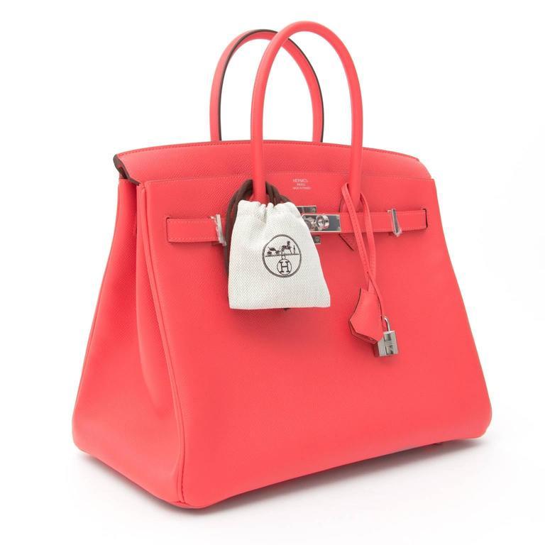 Women's BRAND NEW Hermès Birkin Bag 35 Epsom Rose Jaipur PHW  For Sale