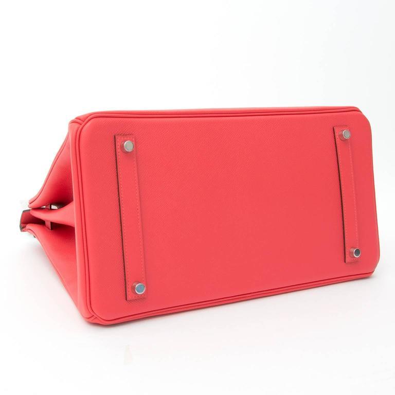 Red BRAND NEW Hermès Birkin Bag 35 Epsom Rose Jaipur PHW  For Sale