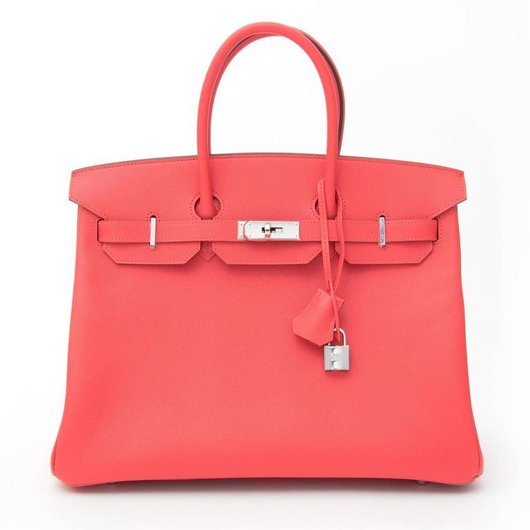 BRAND NEW Hermès Birkin Bag 35 Epsom Rose Jaipur PHW  For Sale 2