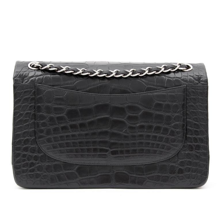 Rare Chanel Alligator Jumbo Double Flap Black  6