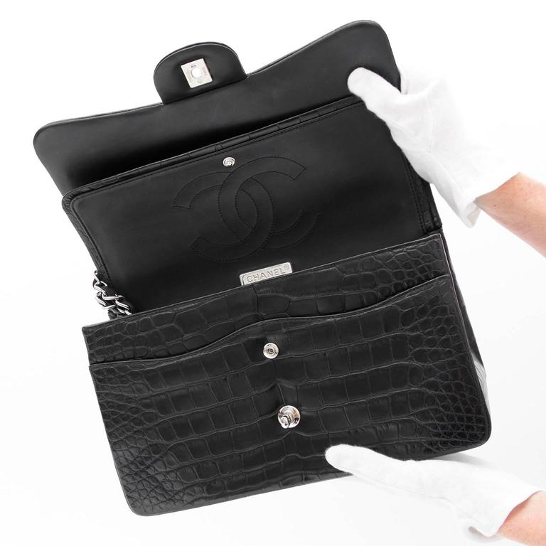 Rare Chanel Alligator Jumbo Double Flap Black  4