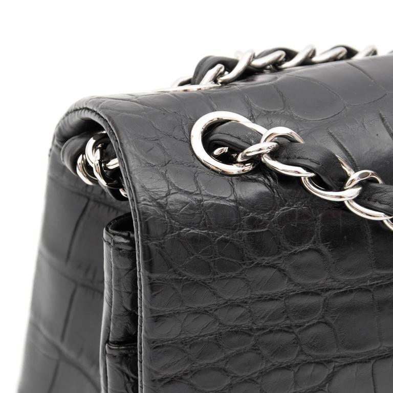Rare Chanel Alligator Jumbo Double Flap Black  5