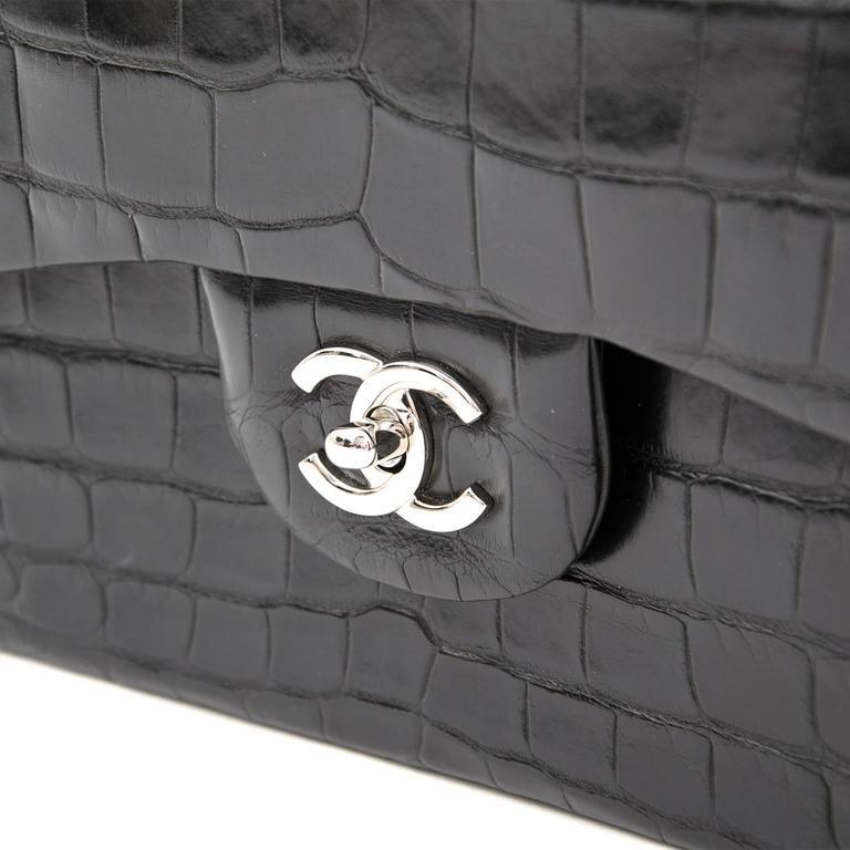 Rare Chanel Alligator Jumbo Double Flap Black  3