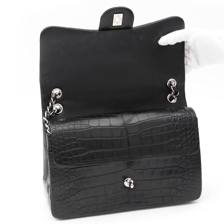 Rare Chanel Alligator Jumbo Double Flap Black  7