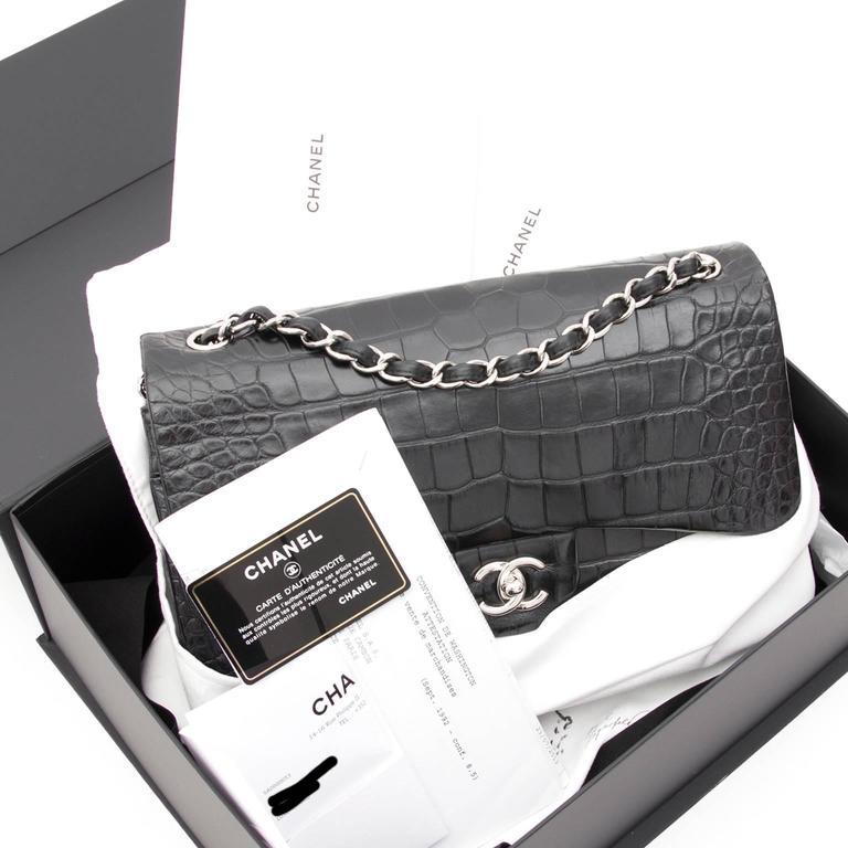 Rare Chanel Alligator Jumbo Double Flap Black  8