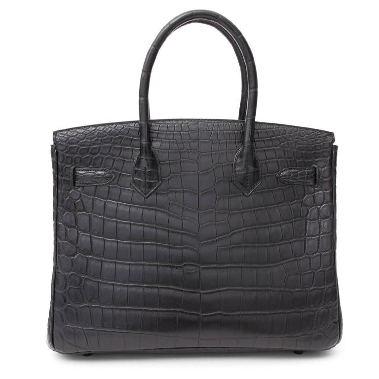 "Black Brand New Hermes Birkin 30 ""So black"" Matte Crocodile Niloticus  For Sale"