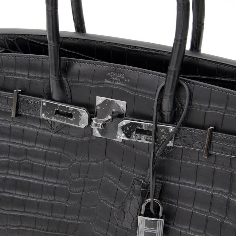 "Brand New Hermes Birkin 30 ""So black"" Matte Crocodile Niloticus  In New Never_worn Condition For Sale In Antwerp, BE"