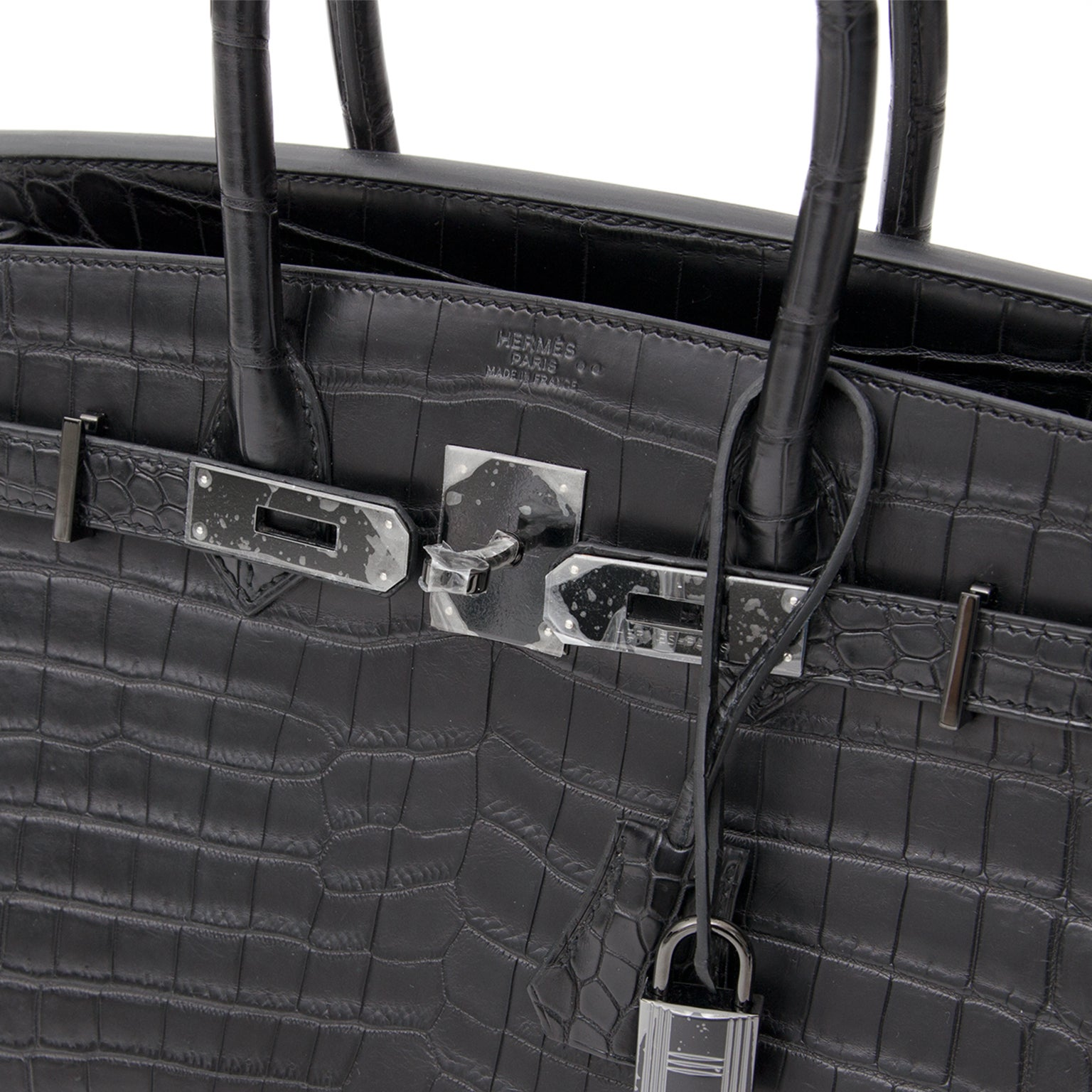 "7f1ed312e2 Brand New Hermes Birkin 30 ""So black"" Matte Crocodile Niloticus at 1stdibs"