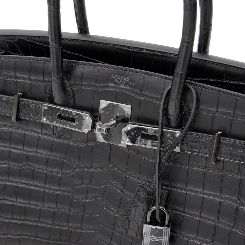 "dc2e54109a Brand New Hermes Birkin 30 ""So black"" Matte Crocodile Niloticus at 1stdibs"
