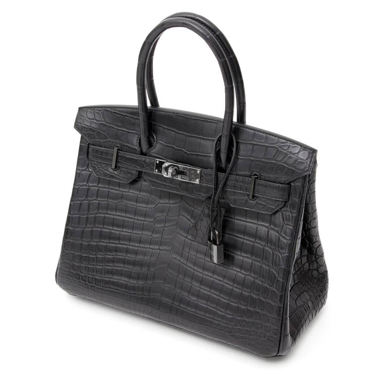 "Brand New Hermes Birkin 30 ""So black"" Matte Crocodile Niloticus  For Sale 5"