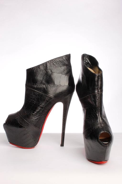 Louboutin Boudubou Peep-toe Ankle Boots - black leather / croco print 4