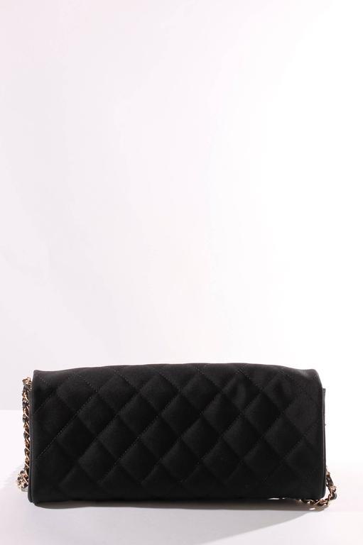 Chanel Satin Camellia Clutch Bag - black/white/silver 3