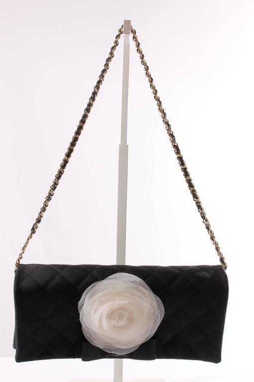 Chanel Satin Camellia Clutch Bag - black/white/silver 2