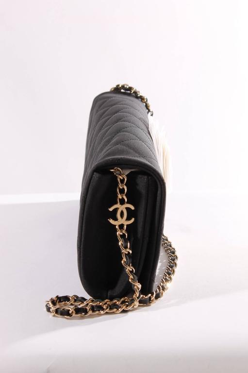 Chanel Satin Camellia Clutch Bag - black/white/silver In New Never_worn Condition For Sale In Baarn, NL