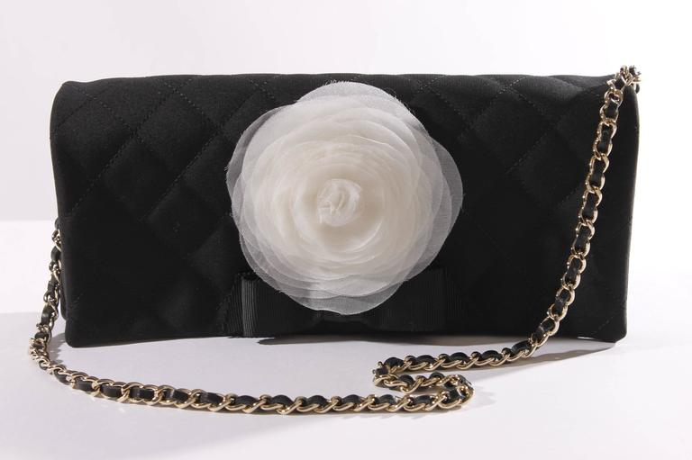 Chanel Satin Camellia Clutch Bag - black/white/silver For Sale 1