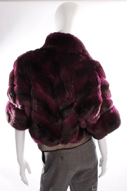 Roberto Cavalli Chinchilla & Python Fur Coat - purple 40th anniversary  2
