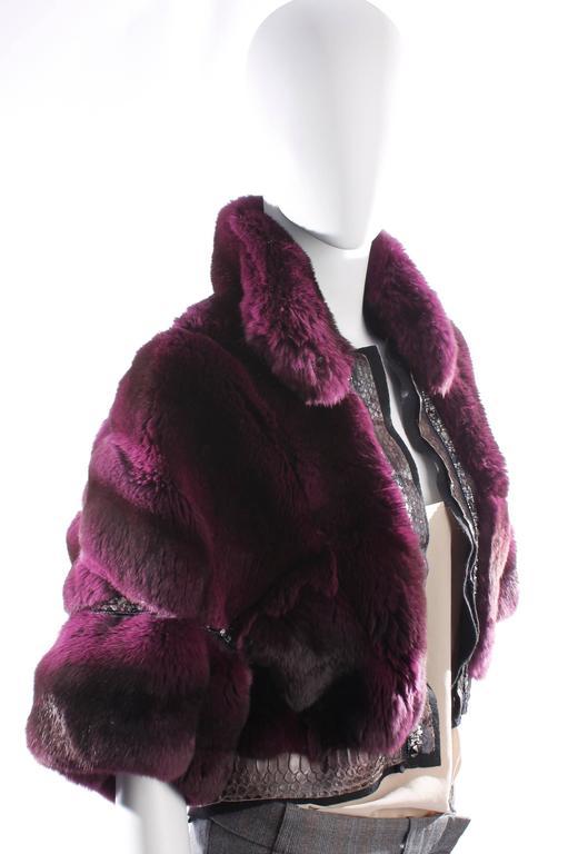 Black Roberto Cavalli Chinchilla & Python Fur Coat - purple 40th anniversary  For Sale