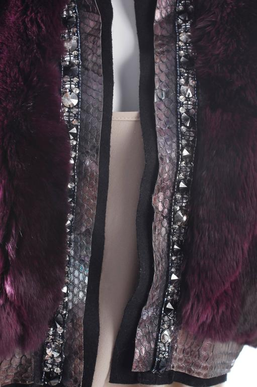 Roberto Cavalli Chinchilla & Python Fur Coat - purple 40th anniversary  6