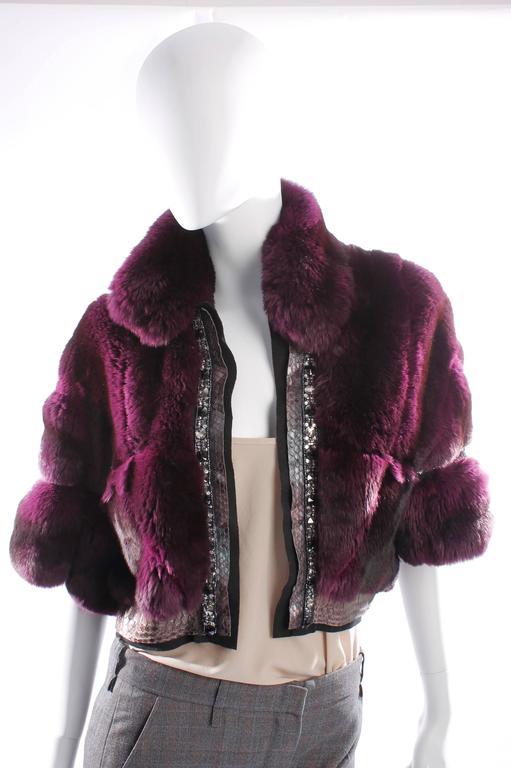 Roberto Cavalli Chinchilla & Python Fur Coat - purple 40th anniversary  7