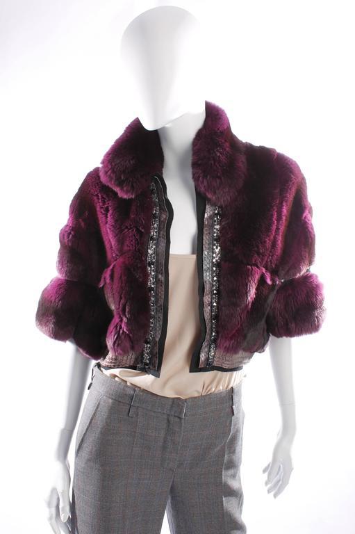 Roberto Cavalli Chinchilla & Python Fur Coat - purple 40th anniversary  8
